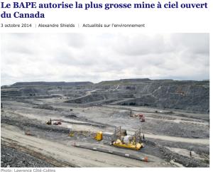 Le Bureau d'audiences publiques sur l'environnement juge « acceptable » l'imposant projet minier de Royal Nickel, qui compte implanter en Abitibi la plus grosse mine à ciel ouvert de l'histoire canadienne. L'exploitation du gisement ne comporte pas moins plusieurs risques environnementaux et pour la santé humaine, selon la Coalition Québec meilleure mine.